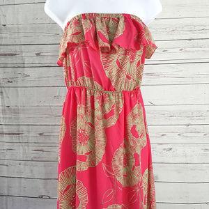 fab'rik pink floral strapless ruffle maxi dress